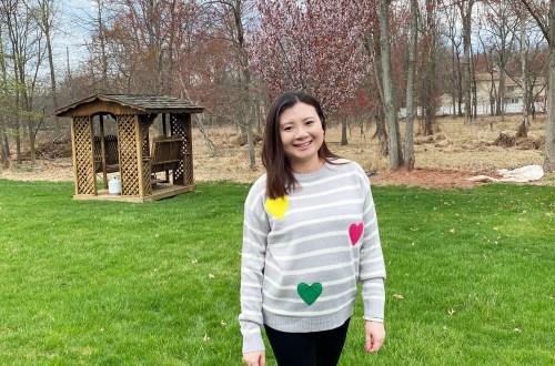 Striped Heart Applique Sweater