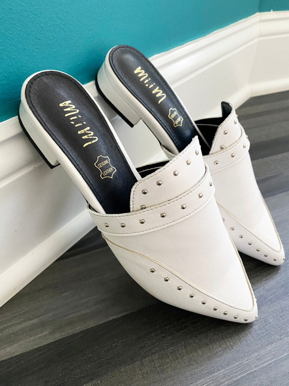 White Studded Mules 2