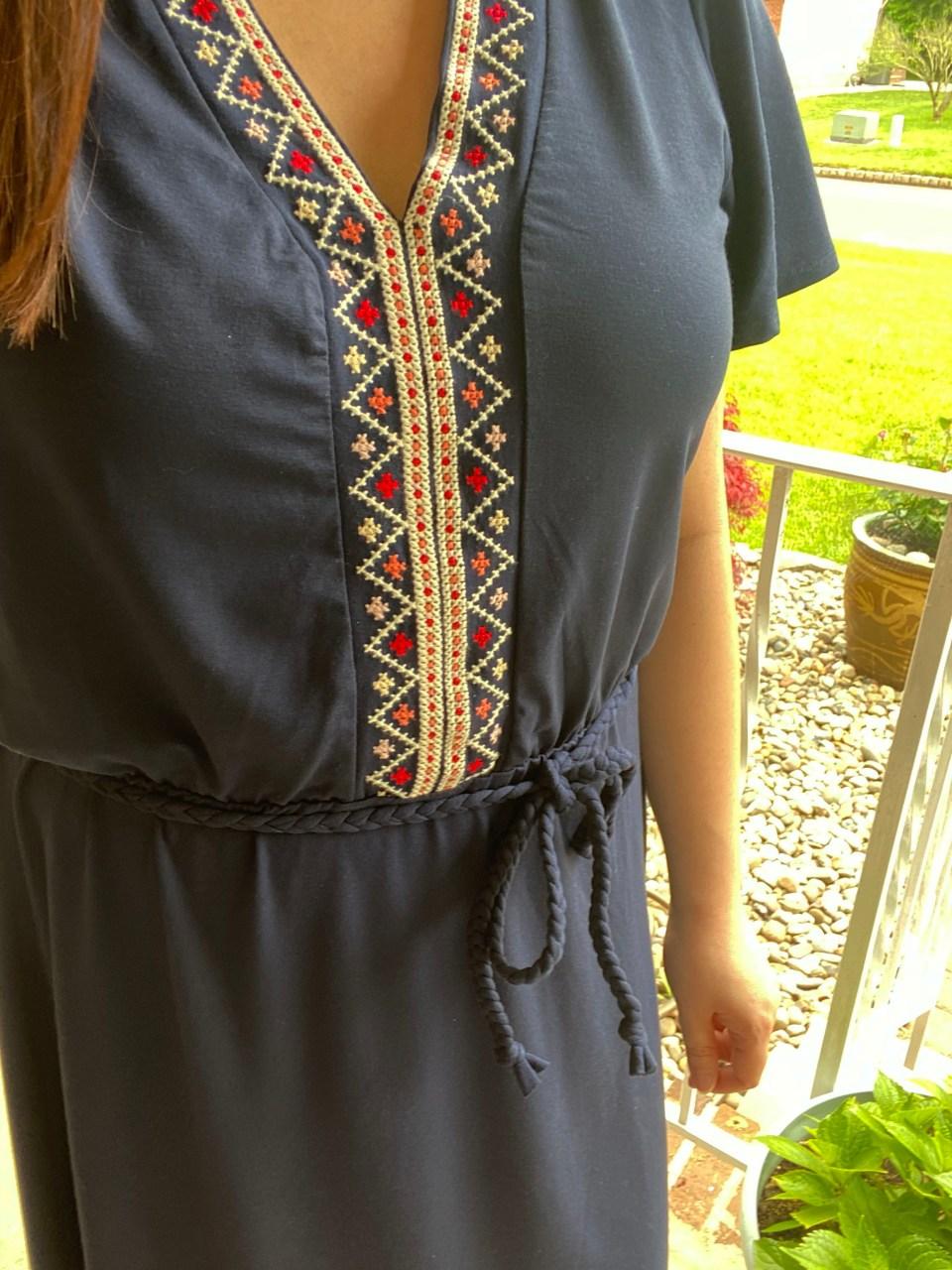 Embroidered Tie Belt Dress 11