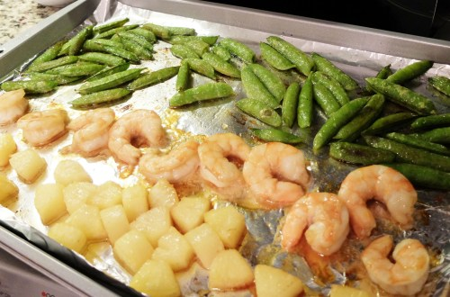 Sheet Pan Teriyaki Shrimp + Snap Peas + Pineapple