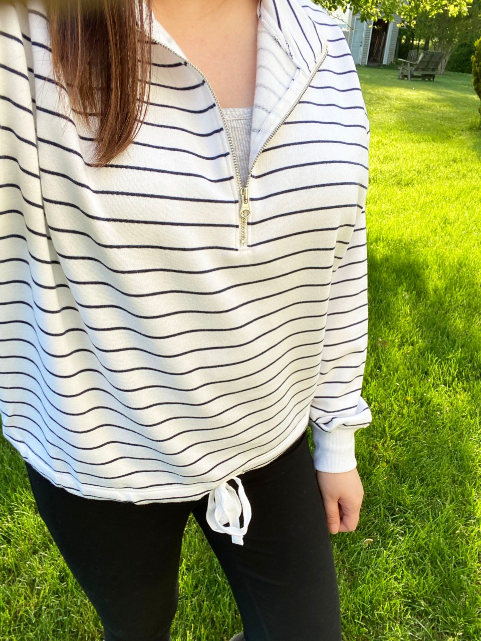 Striped Cinch Hem Pullover 6