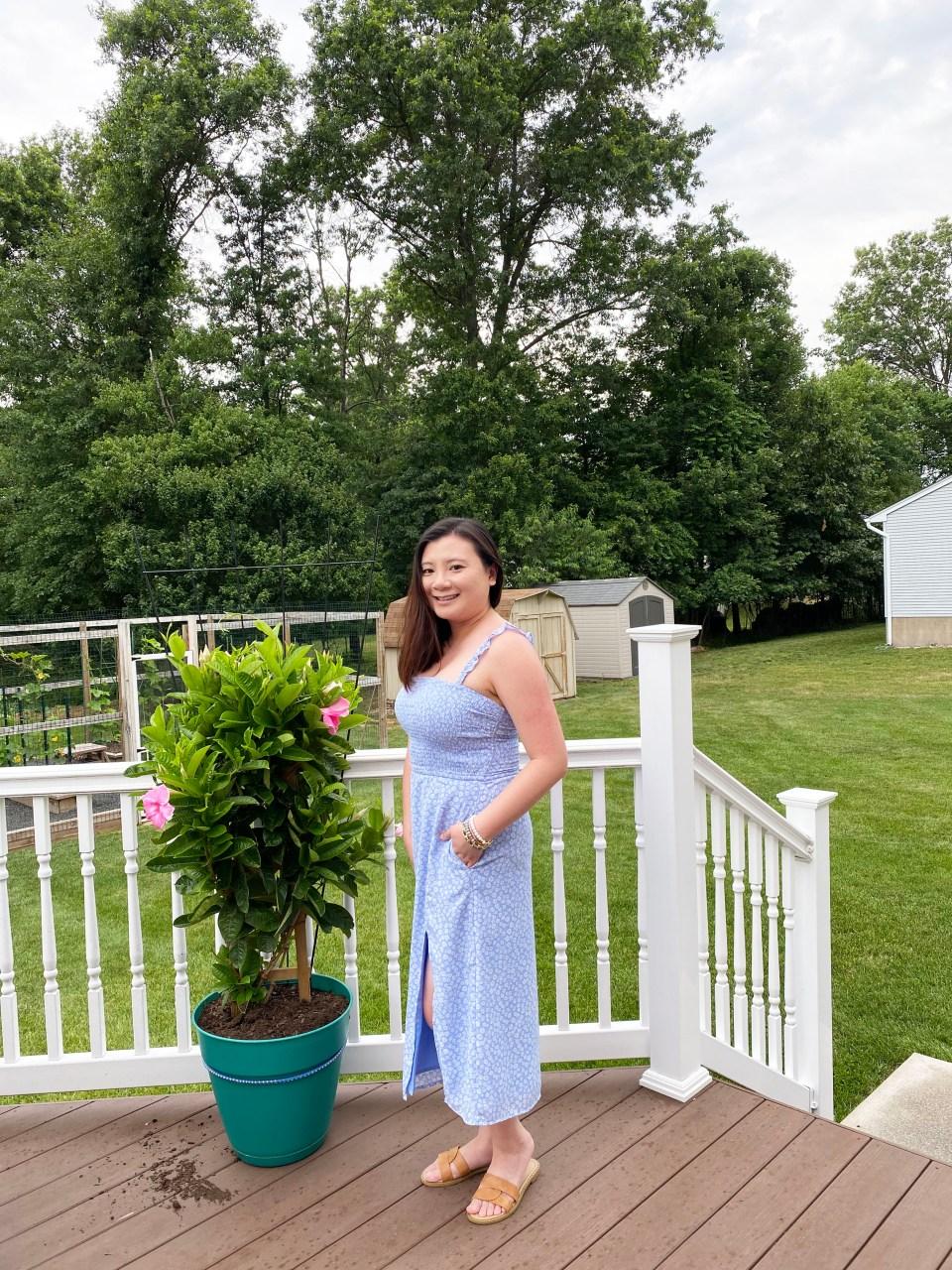 Blue Floral Smocked Dress 1