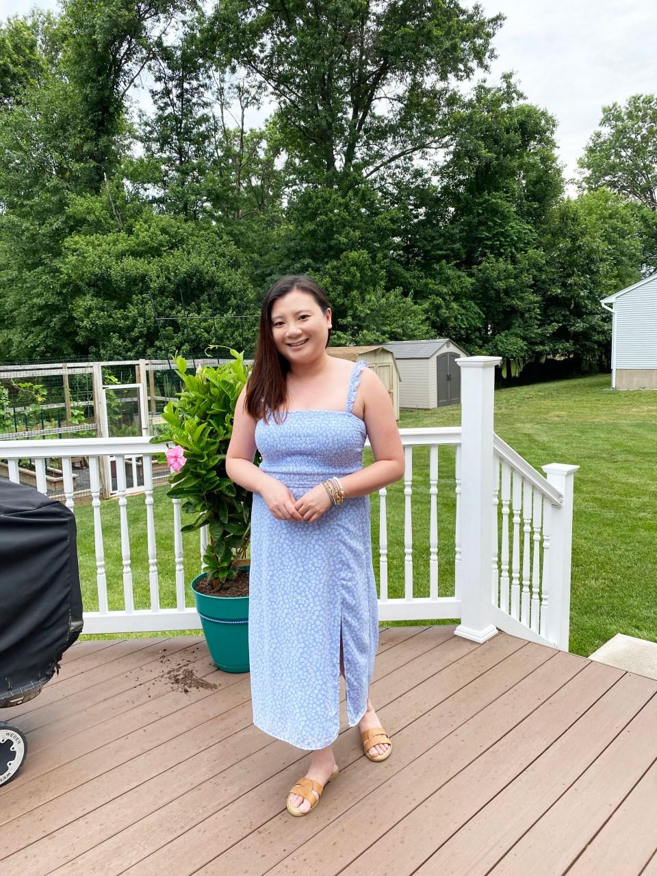 Blue Floral Smocked Dress 10