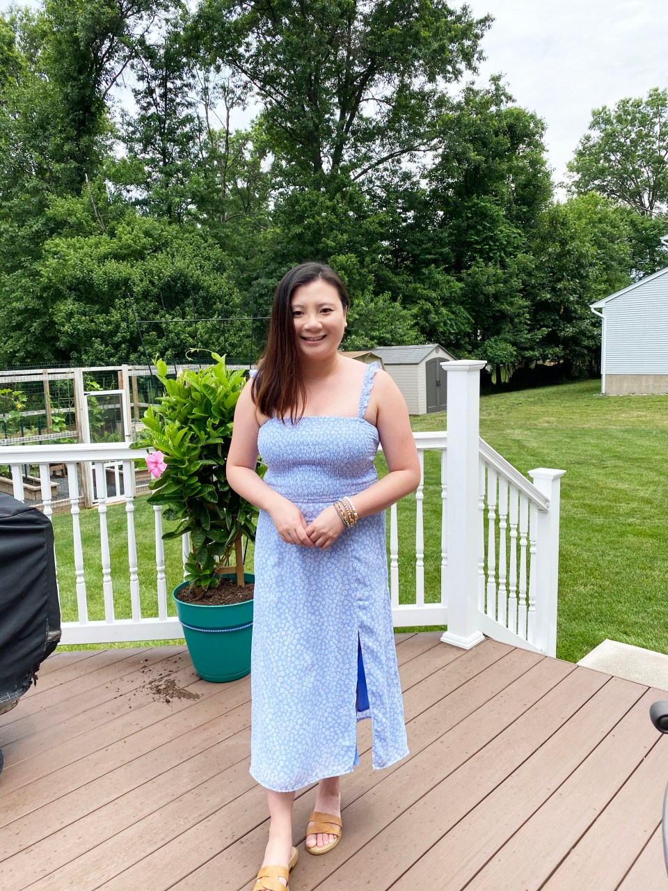 Blue Floral Smocked Dress 11