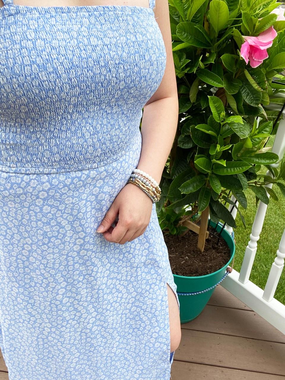 Blue Floral Smocked Dress 7