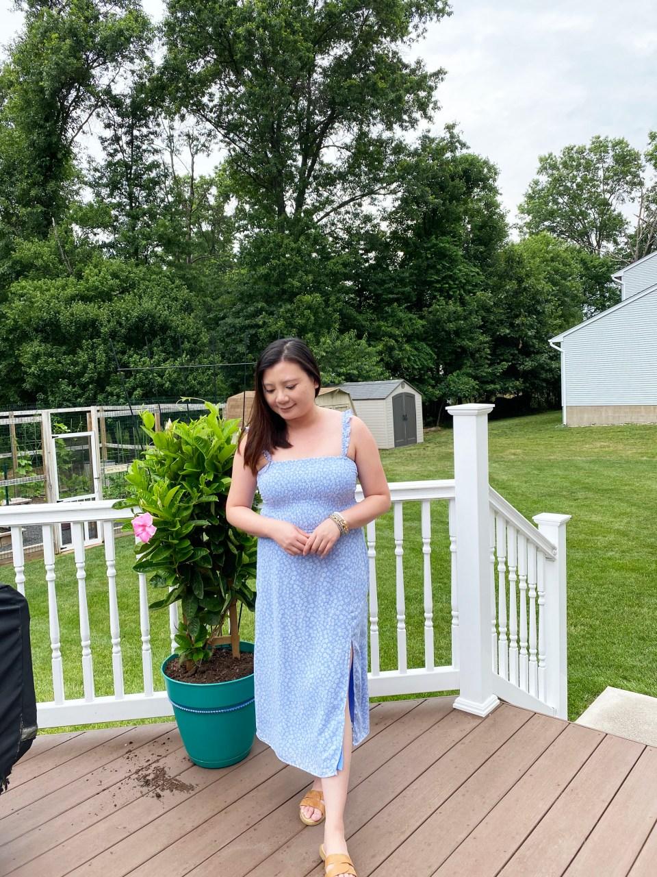 Blue Floral Smocked Dress 9