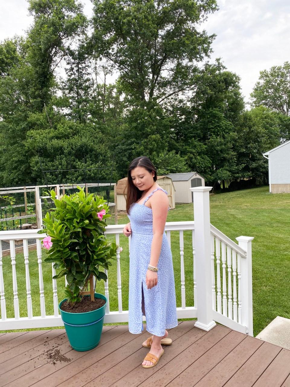 Blue Floral Smocked Dress