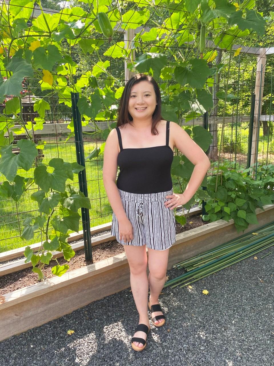 Black Bodysuit & Striped Shorts 5