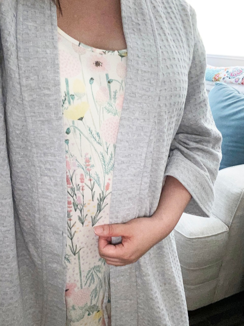 Floral Nightgown + Waffle Knit Robe 4