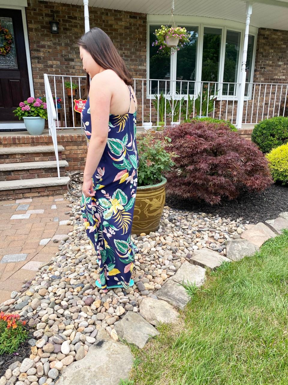 Navy Blue Botanical Maxi Dress 11