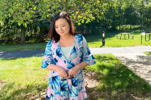 Pink & Blue Leaf Romper