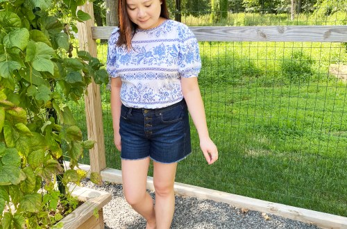 Blue & White Puff Sleeve Tee