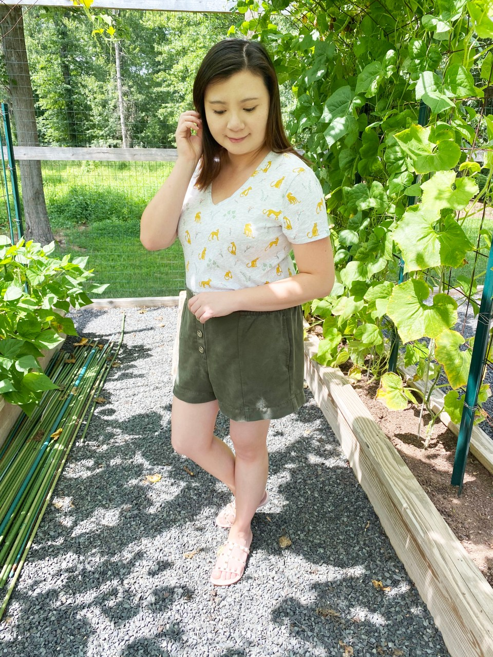 Leopard Tee + Olive Shorts 4
