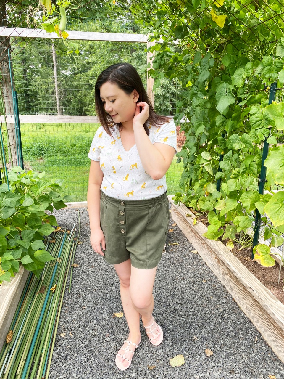 Leopard Tee + Olive Shorts 9