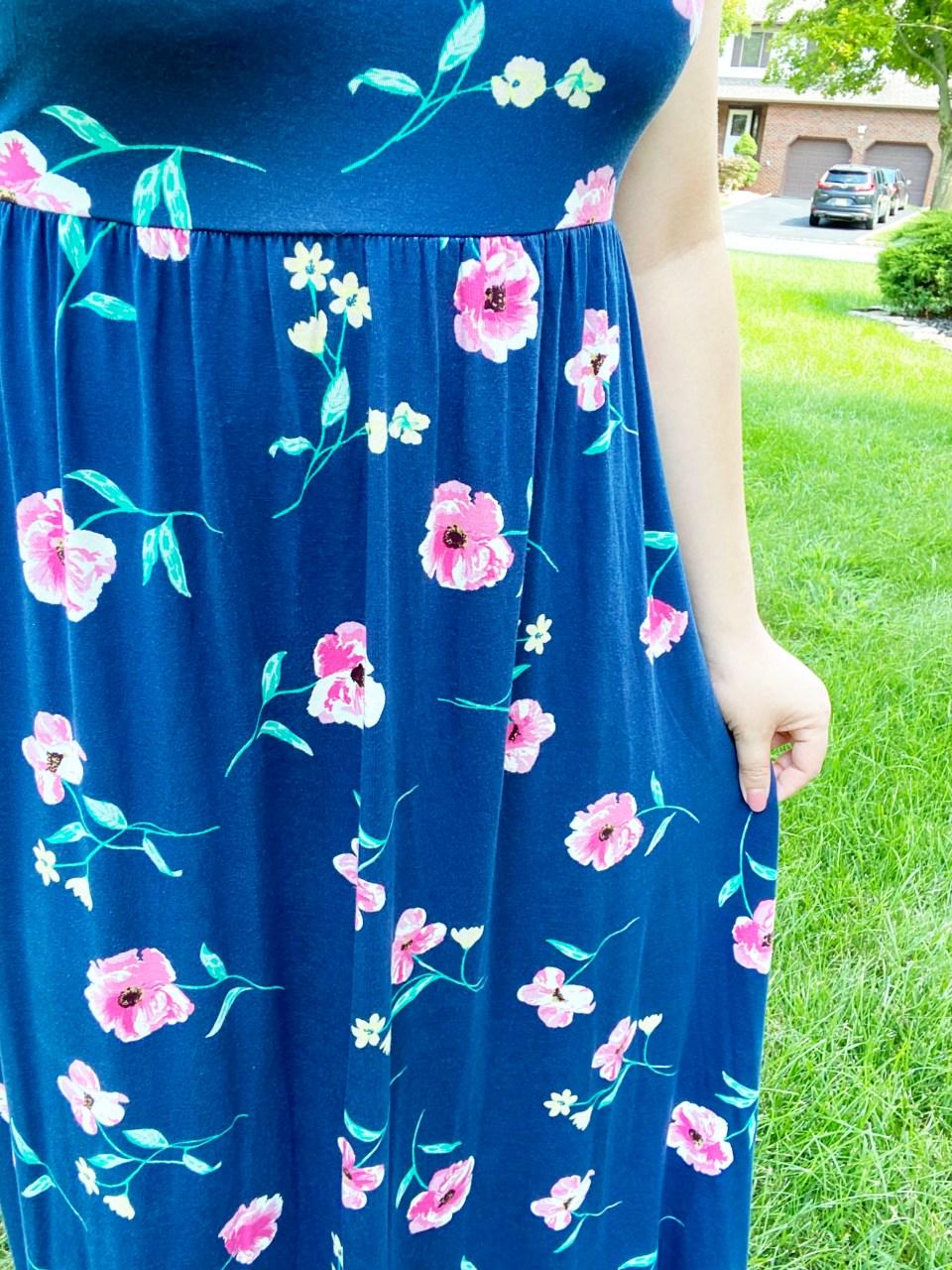 Navy Floral Maxi Dress 13
