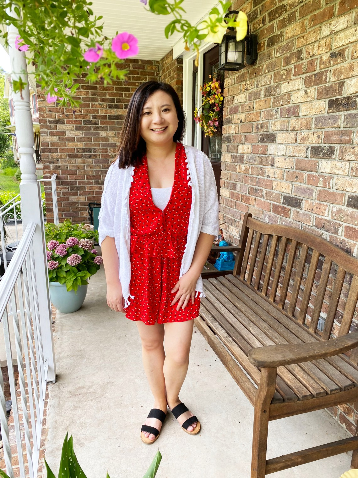 Red Romper + Fringe Cardigan