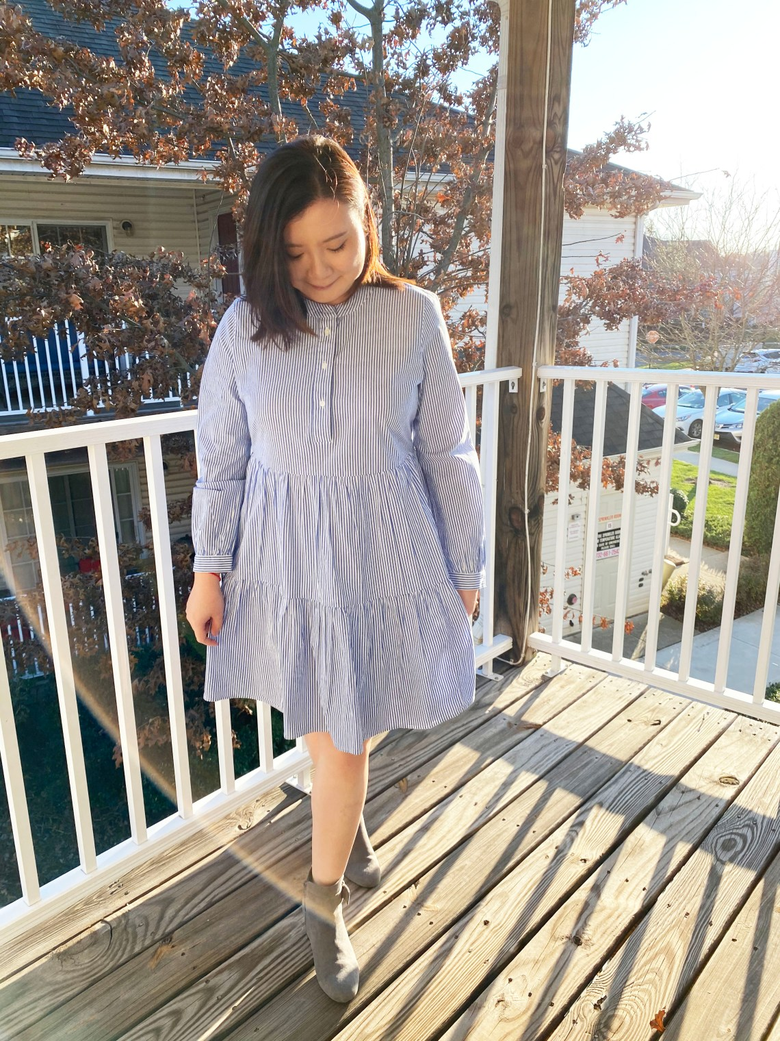 Blue-Stripe-Poplin-Tiered-Dress