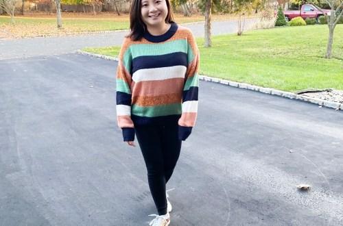 Rust-Mint-Striped-Sweater