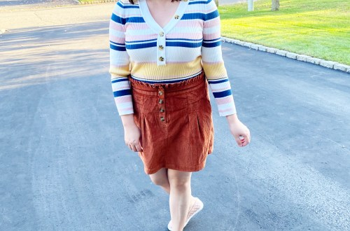 Striped-Button-Top-Rust-Cord-Skirt