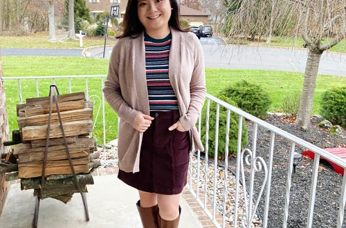 Striped-Sweater-Cord-Skirt