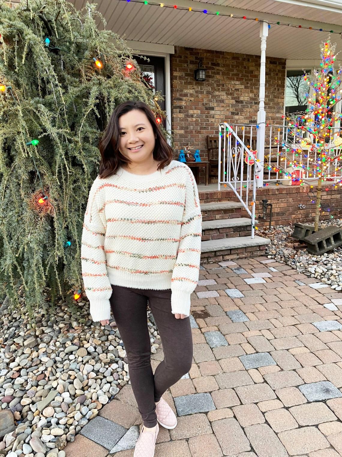 Green-Orange-Combo-Striped-Sweater
