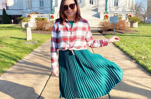 Green-Pleated-Dress-Plaid-Shirt