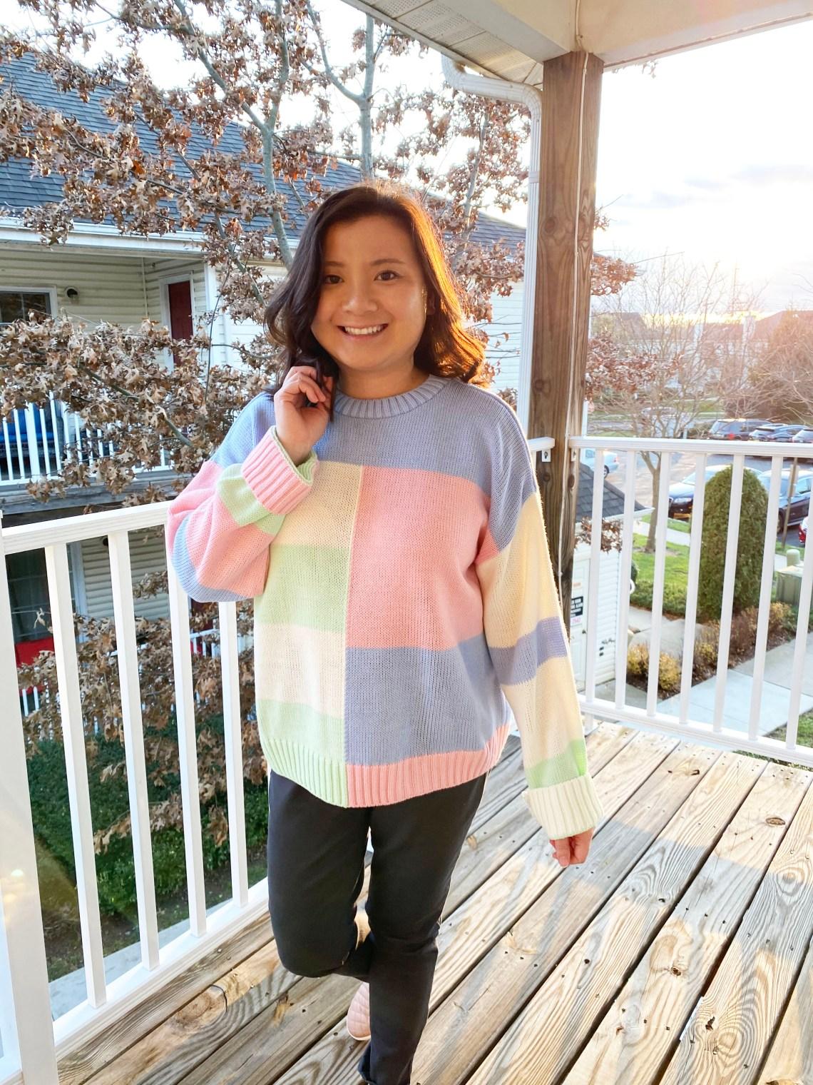 Pastel-Color-Block-Sweater