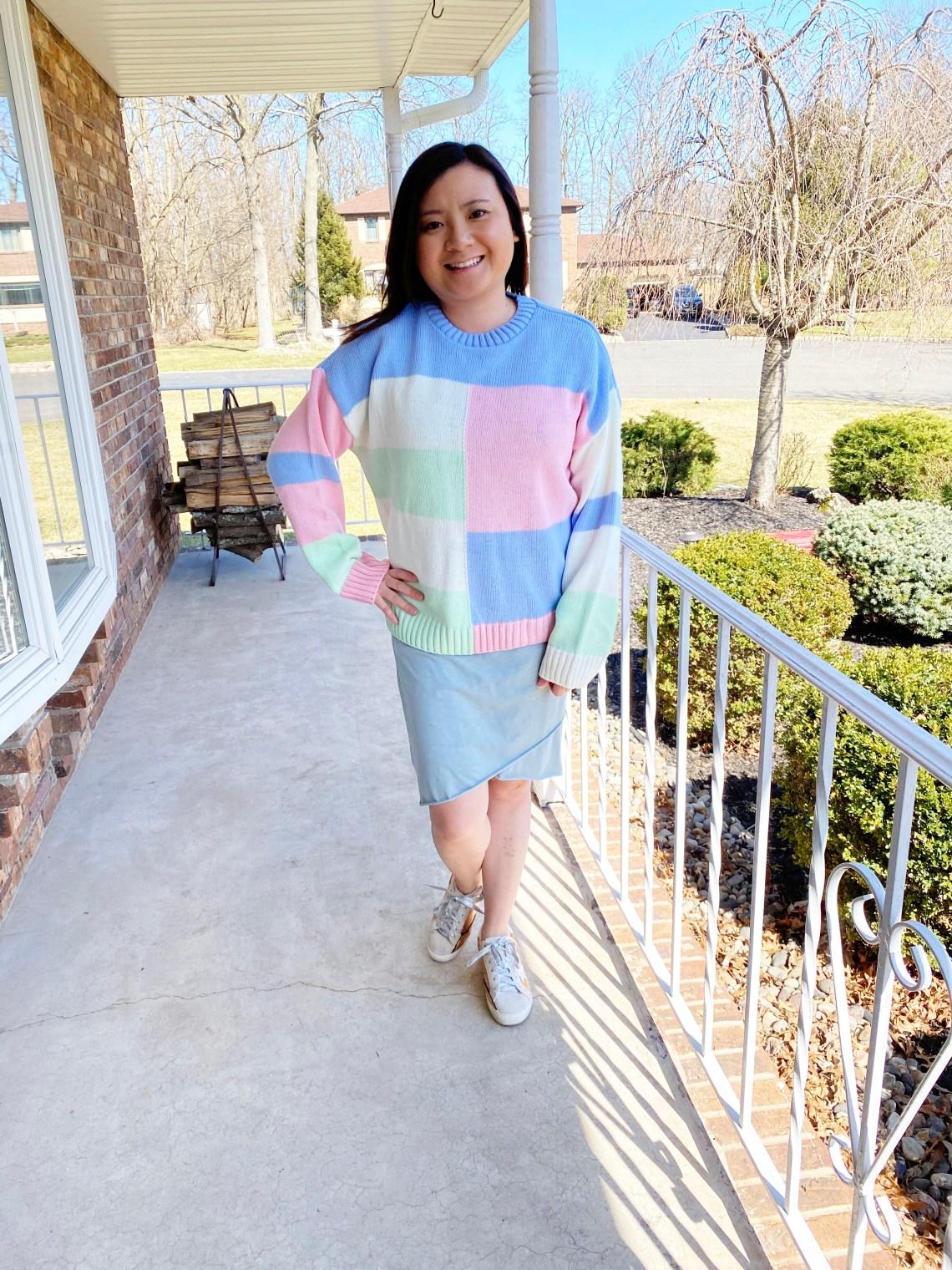 Pastel-Color-Block-Sweater-Tulip-Hem-Dress