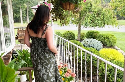 Olive-Tropical-Print-Dress