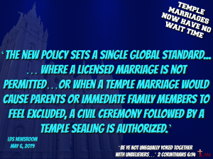 TEMPLE MARRIAGES NOW HAVE NO WAIT TIME
