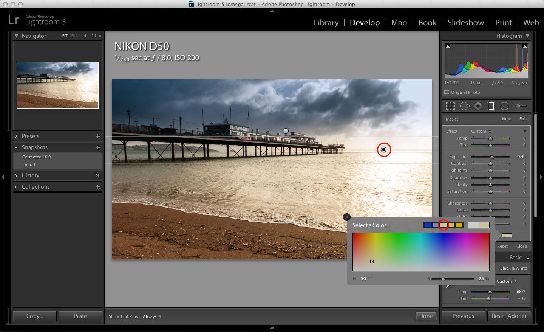 Lightroom Graduated Filter Color effect