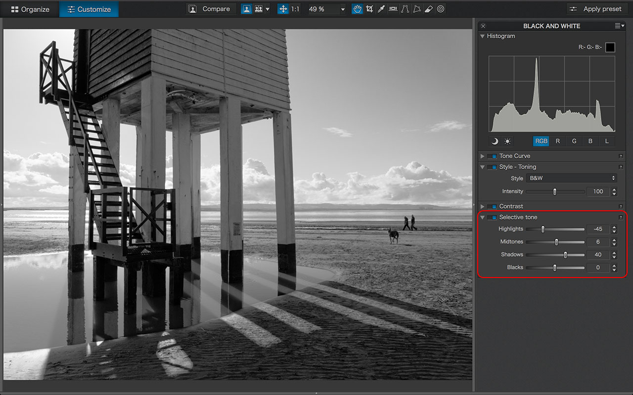 DxO Optics Pro black and white