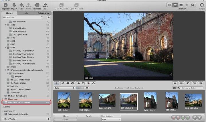 Aperture photo stream setup