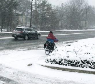 biking in snow