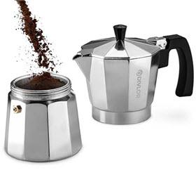 adding coffee to moka pot