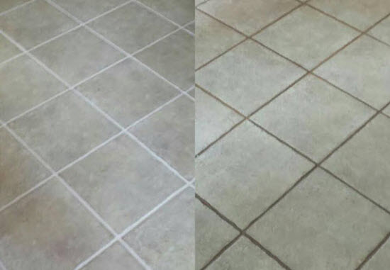 Before and after cleaning tile grout