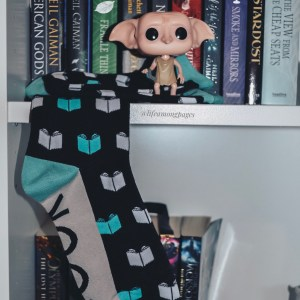 Out of Print Book Nerd Socks on bookcase with Dobby Pop Vinyl