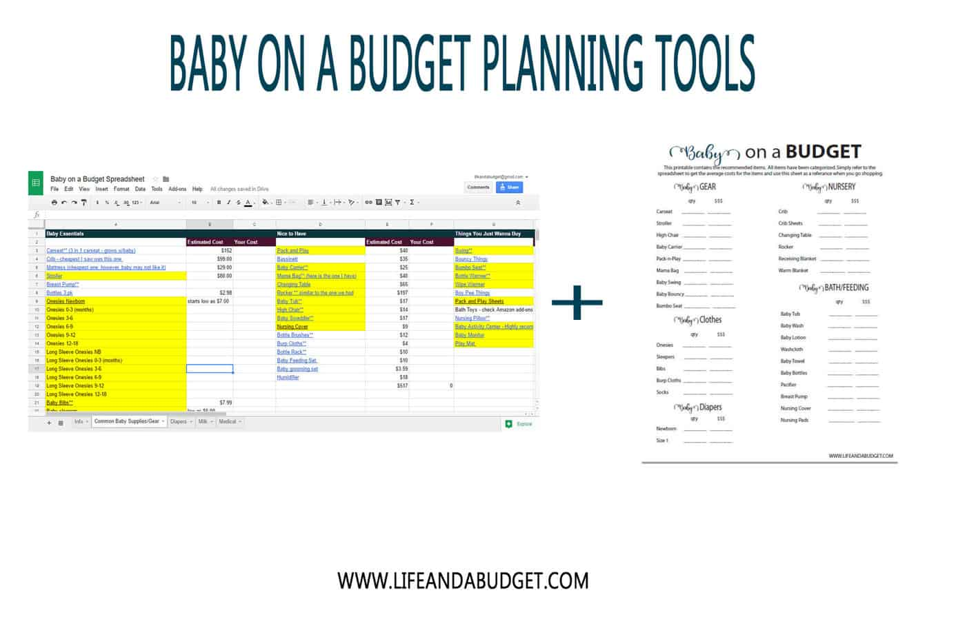 Baby On A Budget Planning Tools