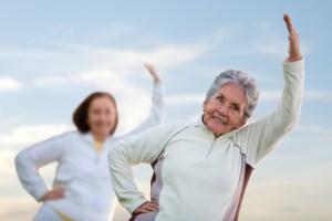 Elder women stretching