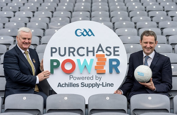 Uachtarán Chumann Lúthchleas Gael Aogán Ó Fearghail, left, and Jim Dollard, Director of Electric Ireland, in attendance at the launch of GAA Purchase Power at Croke Park in Dublin. Photo by Sam Barnes/Sportsfile
