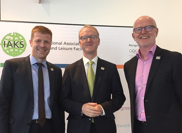 Pictured Klaus Meinel (MD IAKS) Stefan Kannewischer (President IAKS)  and Gar Holohan (Global Director UIA Sports &Leisure Programme) at the announcement of the Conference.