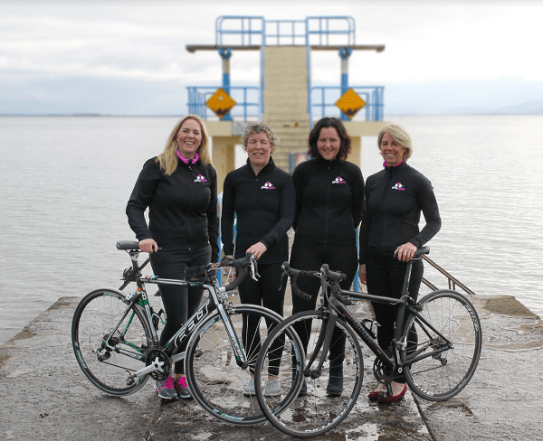 L-R: Joanne Murphy, Karen Cassidy, Brid Naughton & Marie Boyle pictured at the launch of Galway Baybes racing team at Blackrock Tower.