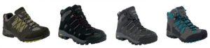 From L-R (Men's Peat Samaris Low €84, Men's Black Burrell Boot €112, Lady Burrell Boot €112 and Peat/Blue Lady Samari Mid €94.50)