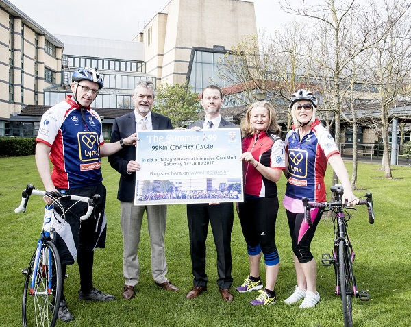 Pictured from left to right at the launch of the 2017 Tallaght Hospital Summer 99 Charity Cycle: Dr. Pat Conroy, Consultant Anaesthetist; Prof. Gerry Fitzpatrick, Director of Tallaght Hospital Intensive Care;  David Slevin, CEO; Siobhan Connors, Critical Care Outreach Nurse and Yvonne Lewis Senior Health Care Assistant in ICU