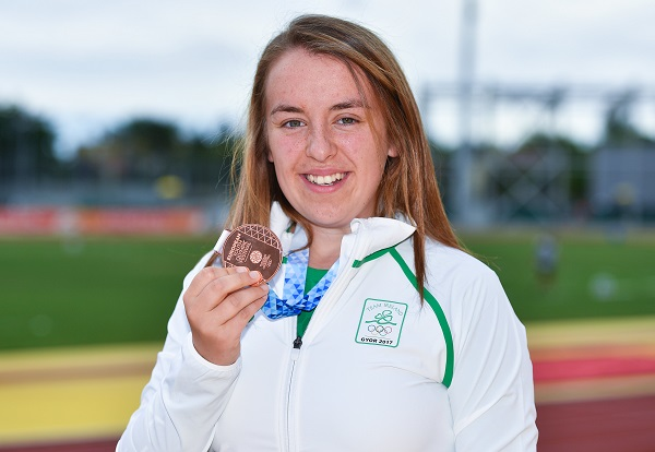 26 July 2017; Team Ireland's Jade Williams, from Baillieborough, Co. Cavan, with her bronze medal in the women's hammer throw during the European Youth Olympic Festival 2017 at Olympic Park in Gyor, Hungary. Photo by Eóin Noonan/Sportsfile