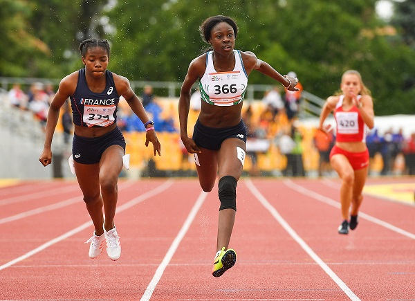 26 July 2017; Team Ireland's Rhasidat Adeleke, from Cloughey, Co. Down, on her way to winning the women's 200m semi final, during the European Youth Olympic Festival 2017 at Olympic Park in Gyor, Hungary. Photo by Eóin Noonan/Sportsfile