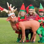 One Month To Go – Register For The Aware Christmas Run Picture shows Presenter Cassie Stokes (centre) and elves Ryleigh Brady and Matthew Hannon who are reminding people to register today for the 12th annual Aware Christmas Run which will take place in the Phoenix Park, Dublin on Saturday, 9th December 2017. Pic:Naoise Culhane