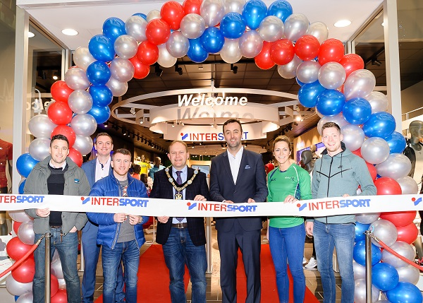 International sports retailer Intersport has officially opened its first new 'concept' superstore in the UK at Rushmere Shopping Centre. Pictured at the official store launch are (from L-R) Ian Humphreys; Thomas Kane, BBC; Paddy Barnes, boxer; Lord Mayor of Armagh City, Banbridge and Craigavon Borough Council Gareth Wilson; Managing Director of Sports Merchandising Ireland, Padraic McKeever; Caroline O'Hanlon, Armagh GAA & NI Netball and Conor McManus, GAA AllStar,  Monaghan; Ireland.