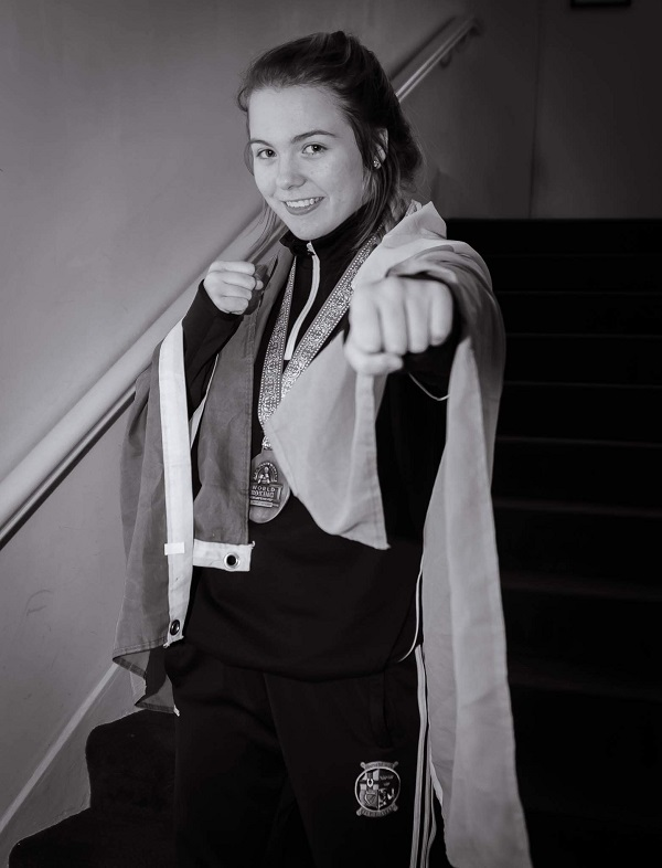 Kildare welterwright Katelynn Phelan celebrates a bronze medal win at the World Youth Boxing Championships in November. Photo: Patrick Scully