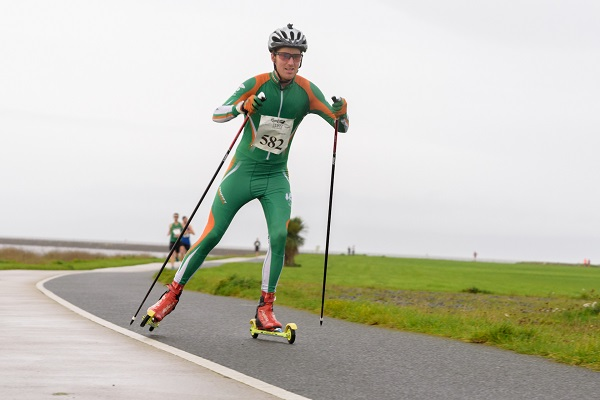 Brian Kennedy Irish Snow Skier taking part in the Roller Ski Marathon at Run Galway Bay on Saturday. Pic Credit Cathal Bowe
